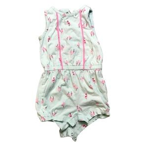 3/$10 Just One You Green Pink Flowers Romper 18mos